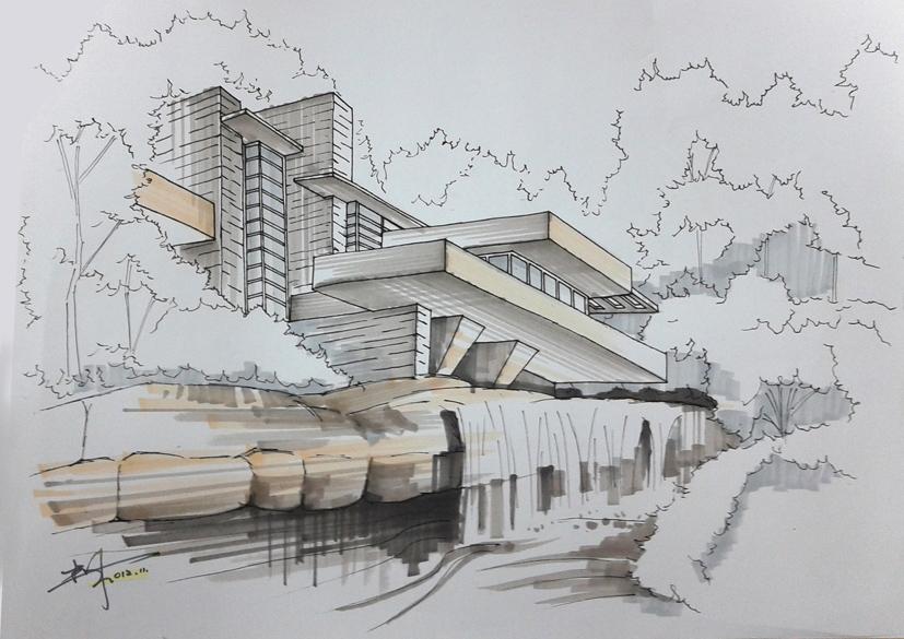 柯达峰马克笔示范步骤-流水别墅